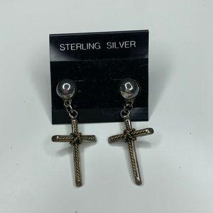 Vintage Sterling Silver Cross Dangle Earrings